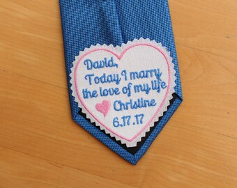 GROOM Tie Patch, gift for groom, Today I marry the love of my life, Groom Gift from Bride, heart patch, personalized, iron-on option S12