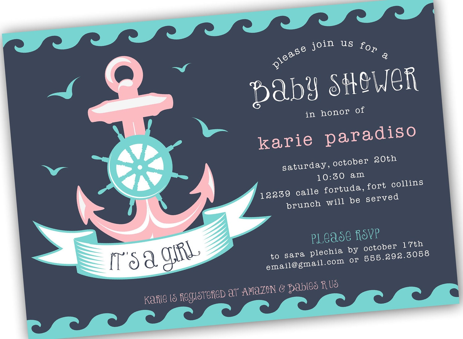 Nautical Themed Girl Boy or Neutral Baby Shower Invite 4x6