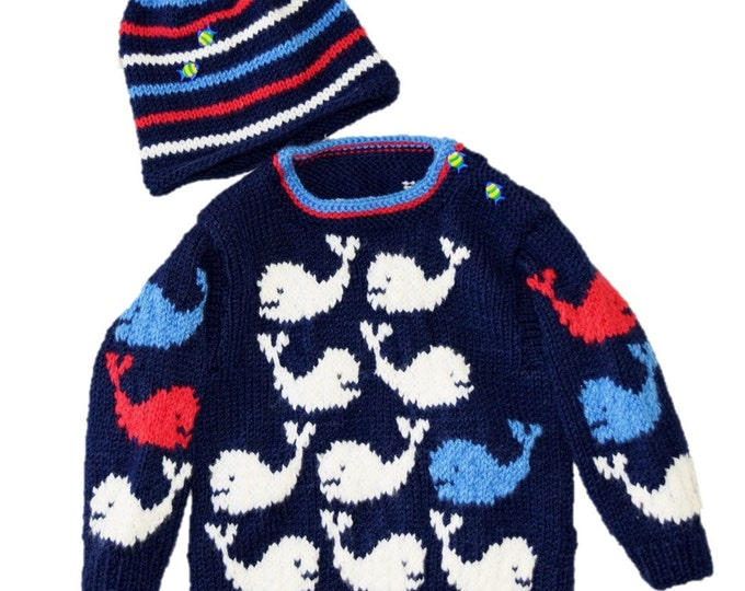 Whale Sweater and Hat Baby Knitting Pattern.  Ages 3-24 months. Aran/Worsted (10 ply yarn)