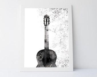Guitar art print, wall art printable, printable art, black white print, wall art print, wall decor, modern print, guitar, gift print