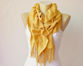 Bufanda, bufanda de Pashmina de la tela en amarillo mostaza de la colmena
