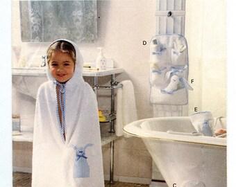 Vintage Vogue Craft 8960 Children's Bath Accessories Uncut Sewing Pattern for robe, bath mat, organizer, bag, slippers
