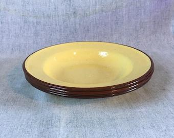 Vintage Tan & Brown Enamelware Rim Soup Bowls, Set of 4