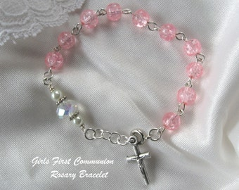 First Holy Communion Pink Bracelet, Girls First Communion Pink  Rosary Bracelet