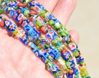 18 Multi-color Milifore 8mm Square Flat Beads  BD297