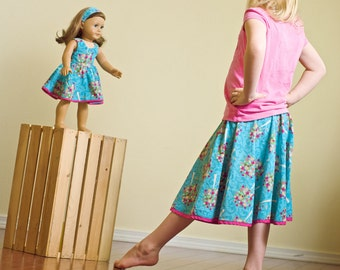 American Girl 18 inch Doll and Girl Matching Clothes - Turquoise Skirt Set