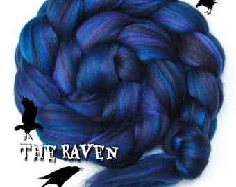 THE RAVEN - Custom Blend Merino and Tussah Silk Combed Top Wool Roving for Spinning or Felting - 4 oz