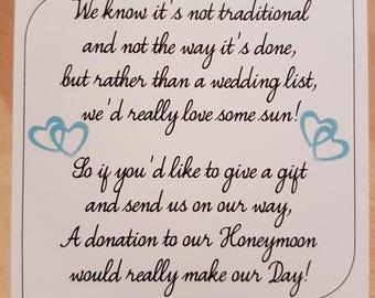 Money Request Poem Honeymoon Aqua Double Heart - Square on White Card KP028 AQ/WT