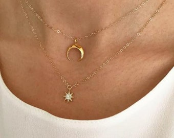 Gold Crescent Moon Necklace, Layering Necklace, Gold Necklace, Moon, Crescent Necklace, Layering Jewelry, Dainty Moon
