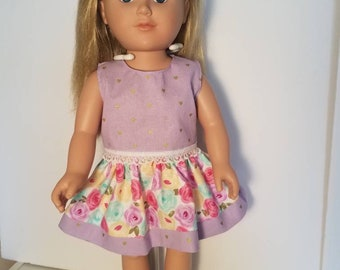 """American girl doll clothes,  18"""" doll clothes, AG clothes. Adorable rose skirt and shirt set"""
