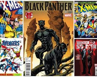 Marvel Comic Book Stickers Avengers Spider Man Black Panther X Men Loki Thor Captain Marvel Black Widow