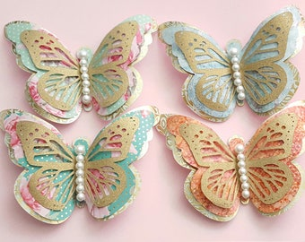 3D Butterflies, 3 Layers, Nursery Decor, Large Butterfly, Wall Art, Die cuts, Butterfly cut-outs, Shabby Chic, Vintage, Embellishment