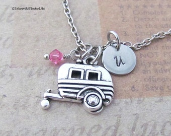 RV Camper Charm Necklace, Personalized Antique Silver Hand Stamped Initial Birthstone Monogram Camper Trailer Charm Necklace