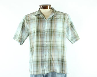 60s McGregor Blue Plaid Shirt Button Down Short Sleeve Vintage 1960s Men's Large L Rockabilly Hipster Button Up Top Loop