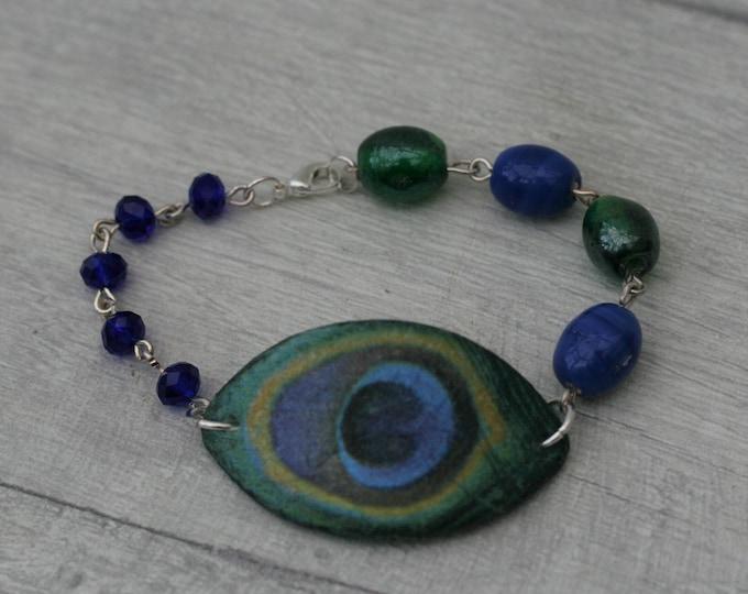 Peacock Feather Bracelet, Feather Bracelet, Feather Bar Bracelet