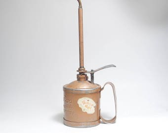 Mid Century Golden Rod 1 Pint Spring Pump Oil Can, Golden Rod Hot Rod Oiling Can, Long Spout Precision Oiling Can, Heavy Duty Oil Can, Oiler