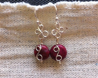 Pink Wire Wrapped Earrings