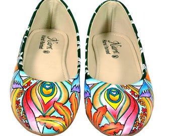 Hand Painted Genuine Leather Ballerinas - Dazzling waves
