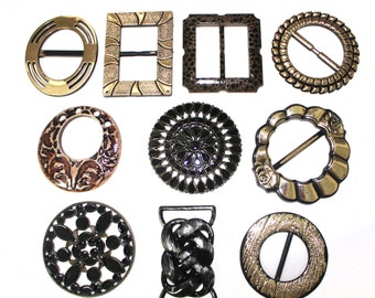 10 PCS Bulk Lot of Unique Buckles For Belts, Jewelry, Fashion and Embellishments