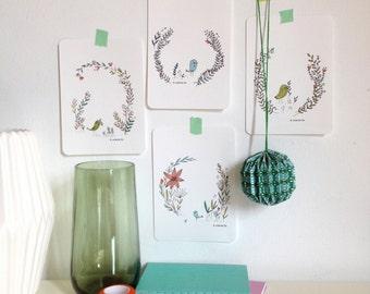 "Cards "" Spring BIRDS "", botanical illustration cards - to send or decor for your home"