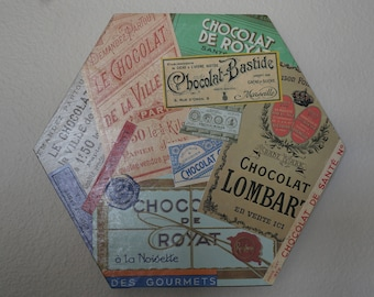 Vintage Chocolate Collage Wall Hanging