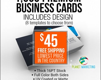 1000 Designed Full Color Front/Back 16PT Business Cards 45 Bucks + FREE Shipping