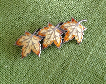 Sterling Enamel Leaf Pin