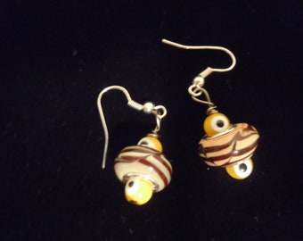 Lampwork Yellow Earrings