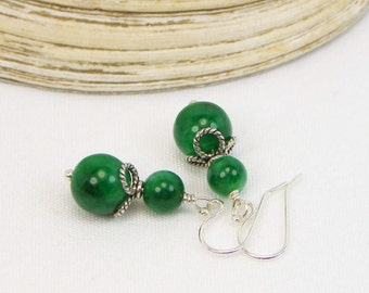 Emerald Earrings - Sterling Silver - Genuine Gemstones - Natural Stones - Gift For Her - Beaded Earrings - Green Earrings - May Birthstone