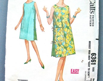 ON SALE  Uncut early 60s McCall's 6361 Muu Muu Dress Vintage Sewing Pattern  Bust 31 and 32 inches