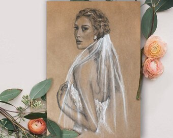 Custom Bridal Portrait Illustration