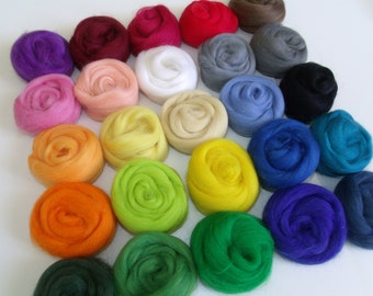 "Wool felting or spinning Merino Lot of 25 color ""Multicolor"" 250g"