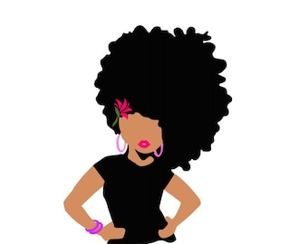 Afro Girl SVG digital Cutting File  for Cricut Silhouette SVG Downloadable File