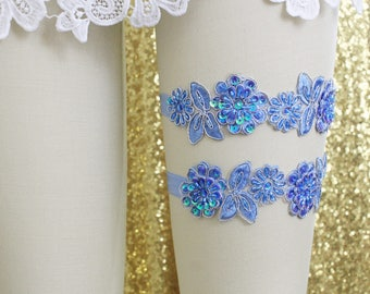 Blue Sequined Flower Lace Wedding Garter, Powder Blue Wedding Garter, Blue Wedding Garter Set, Blue Toss Garter GT-30