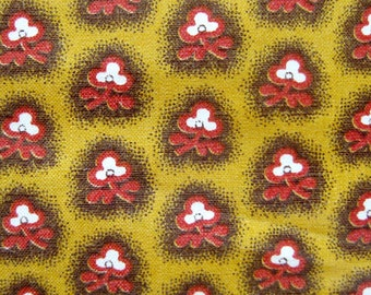 Vintage Cotton Fabric / Fifties Fabric / Small Floral Print in Burnt Orange and Brown on Mustard Yellow / Glazed Cotton / Vintage Sewing