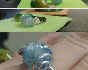 US Size 7: Blue Bead Small Spiral Ring