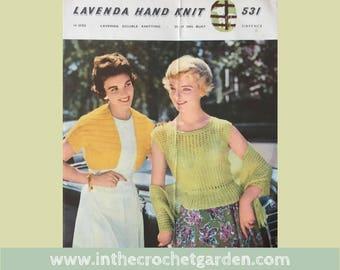 Vintage 1950s Knitting Pattern Lavenda 531 Jumper, Stole and Bolero