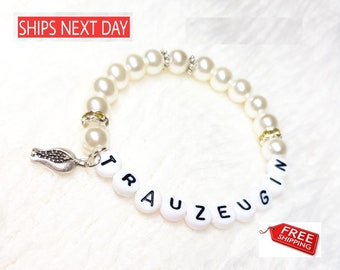 White Pearls Name Bracelet with Tulip FREE SHIPPING!!!