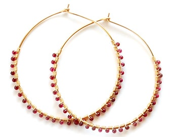Garnet Hoop Earrings, Gold Garnet Hoops, Silver Garnet Hoops, Gold Garnet Earrings, Silver Garnet Earrings