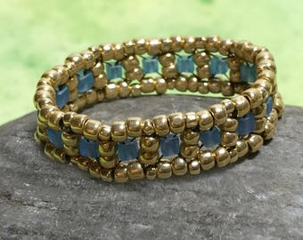 Seed Beaded Ring Blue Gold Bead Ring Beadwork Ring Beaded Band Ring Peyote Ring Gold Beaded Ring Bead Stitched Ring Woven Ring