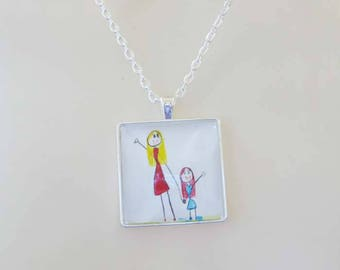 Your Kid's Artwork Necklace, Personalized Keepsake Necklace, Custom Children Drawing Jewelry glass dome art pendant