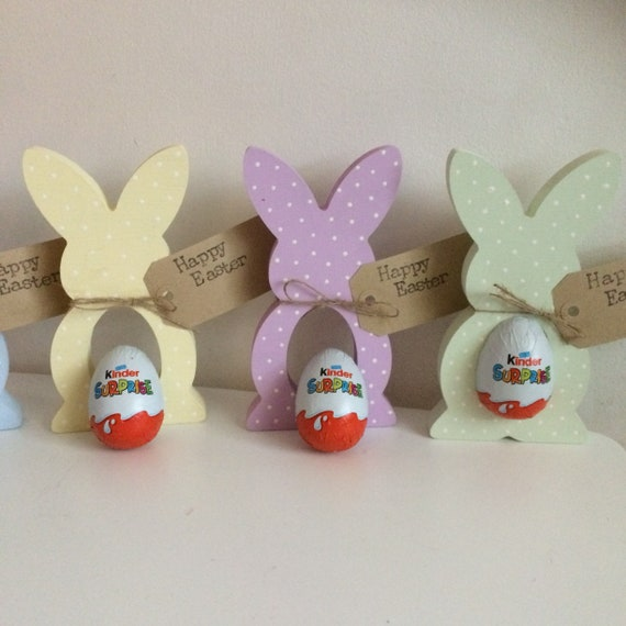 Set of Three Wooden Easter Bunny Egg Holders