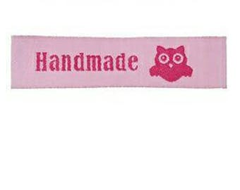 Hande made pink sewing labels