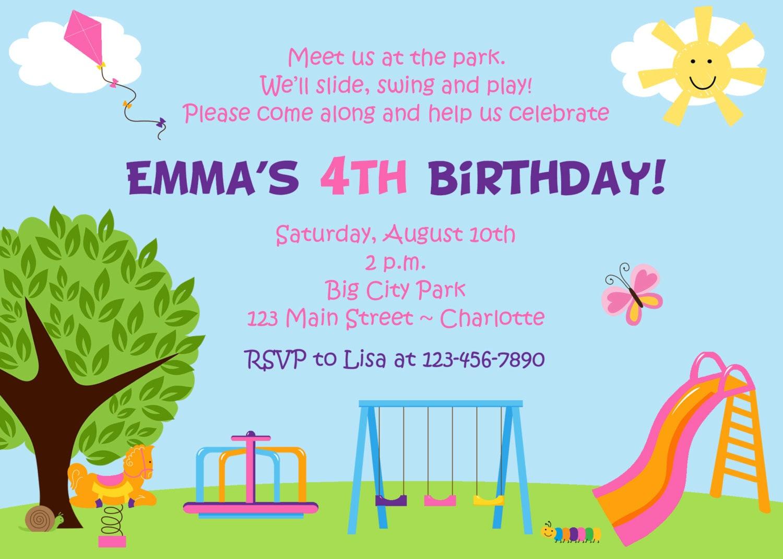 Park birthday party invitation park play party slide