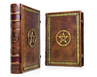 "10"" x 13"" - Book of Shadows, Leather Journal, Pentacle book , magician book, Grimoire, spell book, Pentagram book, Mage's spellbook,"