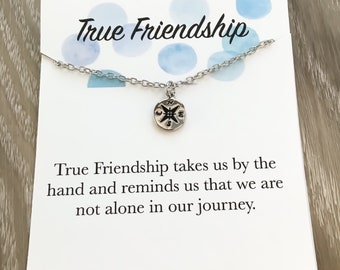 Friendship Necklace Card, Dainty Silver Compass Necklace, Friends Forever Jewelry, Best Friends Necklace, Birthday Gifts from Friend, Gift