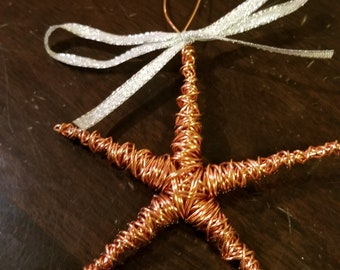 Copper Starfish Ornament with Bow