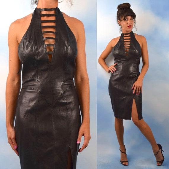 Vintage 80s 90s Cache Buttery Black Leather Cage Neck Halter Back Hourglass Dress (size medium)