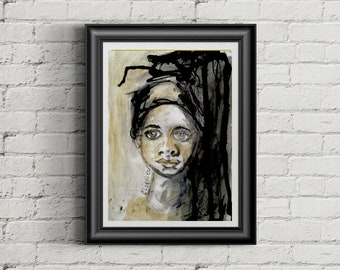 dripping ink art print, 8X11 fashion art print, ink and watercolor art, fashion art illustration, sketchbook project, global women art,
