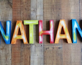 Kids Name Letters - Name Wall Letters - Rustic Room Decor - Kids Wall Art - Nursery Name Letters - Baby Name Letters - Primary Colors